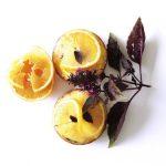 Tarte orange, noisette et basilic pourpre