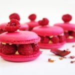 Macaron framboises, rose et litchis